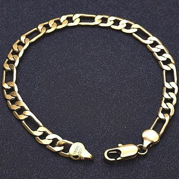 Gold Layered Men Figaro Basic Bracelet, by Folks Jewelry