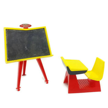 Vintage Doll Size Chalkboard & School Desk, Topper Toys, Penny Brite Doll, Dollhouse Furniture, Blackboard