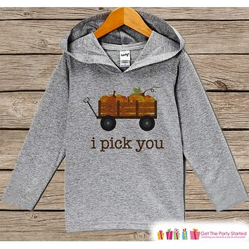 Kids Fall Shirts - I Pick You Fall Hoodie - Baby Boy or Girl Fall, Autumn Top - Grey Hoodie Kids Pullover - Toddler Pumpkin Patch Hoodie