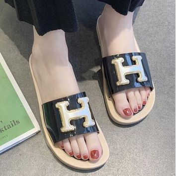 Hermes Summer Popular Women Casual H Letter Sandal Slipper Shoes Black