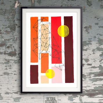 Autumn/ Fall inspired Abstract Geometric Art, A4 print, Handpainted, Ink Pen Triangles, Minimalist Art, orange, yellow, red and burgundy