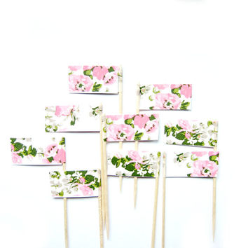 12 White & Pink Floral Cupcake Toppers - Washi Tape Cupcake Toppers, vintage floral cake topper, wedding, engagement, baby shower, tea party