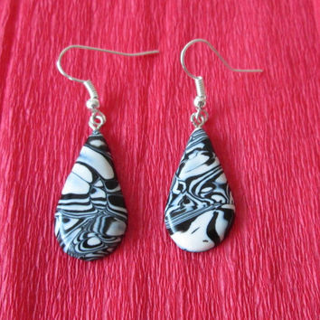 black white earrings,polymer clay earrings,affordable earrings,polymer clay jewelry,boho earrings,birthday gift for her,black white jewelry