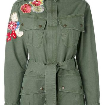 DCCKIN3 Saint Laurent Flower Embroidered Military Parka Jacket