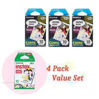 Instax Film Package 3 Plus 1 - 4 Pack Value Set Fujifilm Instax Mini Film White Plus Comic Polaroid Instant Photos 40 Shots