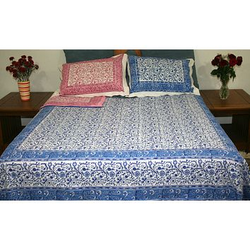 Reversible Duvet Cover Rajasthan Floral Design Full Queen Gorgeous Blue Pink
