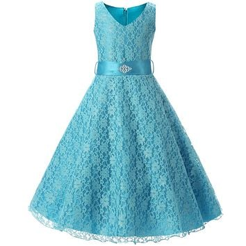 Teenage Girl Clothes Summer 2018 Lace Flower Girl Dress For Wedding Party Kids Clothes Children's Princess Costume 10 12 14 Year