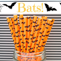 SALE!!! Halloween BAT Paper Straws (BATS! - Pack of 25 or 50 Straws) **Weddings, Parties, Showers, Gifts** Halloween Party and Paper Straws