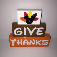 Mickey Turkey Give Thanks Thanksgiving Wood Stacking Blocks Painted with Decals Disney Lover White Brown Orange