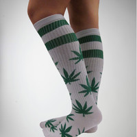 Leaf Athletic White Knee High Socks