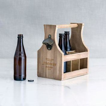 Wood Beer Bottle Caddy with Opener - Brewery Co. Etching (Pack of 1)