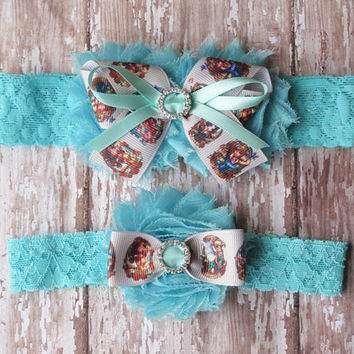 Pin-Up Girl Garter Set | Princess Pin-Up Spmething Blue Wedding Garters | Bridal Garter and Toss Garter