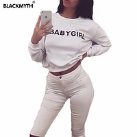 BABYGIRL Letters Print Women's Casual Sweatshirt Long Sleeve Tops Black White Hoodies Cotton Tracksuits