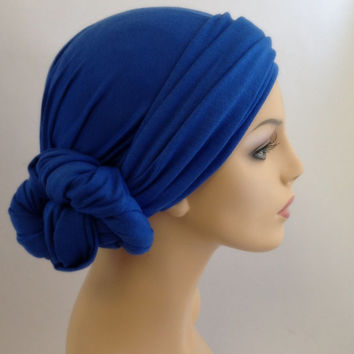 Sapphire Blue Turban Dreads Wrap, Head Wrap, Alopecia Scarf, Chemo Hat, Boho Gypsy Tribal