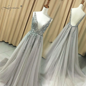 New V neck Grey Sparkly Vestido de Festa Open Back Evening Gowns 2017 Elegant Sexy See Through High Split Prom Dress