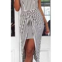 Black White Vertical Stripe Sleeveless Scoop Neck Halter Racerback Twist High Low Mini Maxi Dress