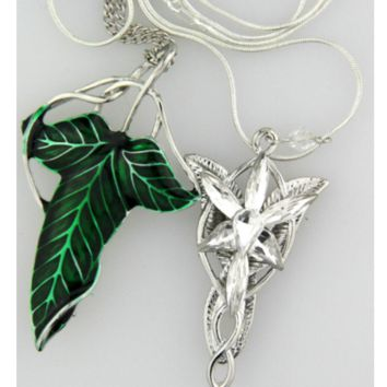The Hobbit SET silver long Elven Leaf Pendant Arwen Evenstar Pendant necklace