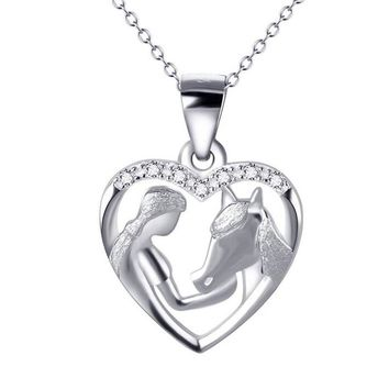 925 Sterling Silver Girl Feeding Horse Heart Pendant Necklace with Cubic Zirconia Lovely New Year Gift YFN141