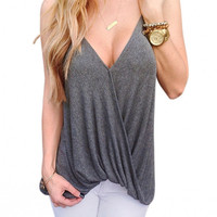 Sexy Women Summer Casual Spaghetti Strap V-Neck Solid Loose Front Cross Tank Tops