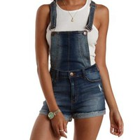 Lt Wash Denim Convertible Cuffed Denim Shortalls by Charlotte Russe