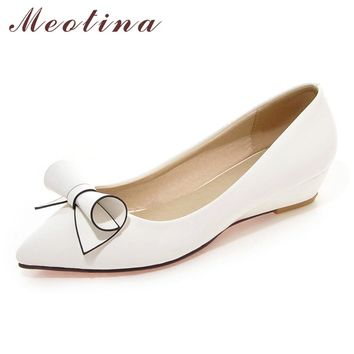 Meotina Shoes Women Bow Low Heels Ladies Wedge Heels Bridal Shoe 257125d18cb0