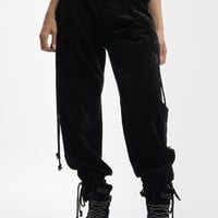 Black Corduroy Pants with Military Belt