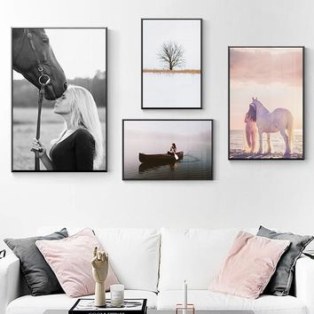 Nordic Style Decor Girls Horse Landscape Tree Black and White Pink Romance Posters And Prints Wall art Pictures For Living Room