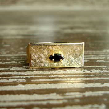 Vintage Tie Clip, Gold Tone Tie Bar, Tie Pin Tie Tack, Onyx Black Glass Jewel, Textured Collectible Men's Jewelry Accessories, Gifts for Him