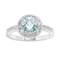 10k White Gold 1/6-ct. T.W. Diamond & Blue Topaz Frame Ring