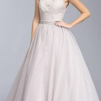 Lace Bodice Halter Prom Ball Gown Lace-up Back Mauve