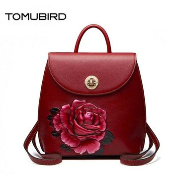 TOMUBIRD Superior cowhide Three-dimensional Embossed famous brand women bag luxury genuine leather backpack women bags tote