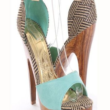 Mint Faux Leather Woven Ankle Straps Wood Wrap Platform Heels
