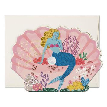 RED CAP CARDS BLUE MERMAID CARD