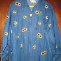 Quacker Factory Womens Factory Denim Sunflower Bee Zippered 1x Womens Jean Jacket