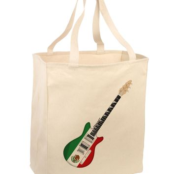 Mexican Flag Guitar Design Large Grocery Tote Bag by TooLoud