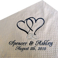 Personalized Wedding Throw Blanket Gift Hearts and rings