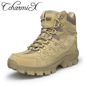 CcharmiX Winter/Autumn Men Military Leather Boots Special Force Tactical Desert Combat Boats Outdoor Shoes Army Boots Big Size
