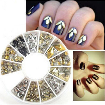 300 Pcs 12 Style Metal Nail Art Tips Decoration Crystal Glitter Rhinestone Nail Tools With Wheel NA1050