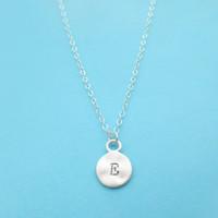 Coin, Initial, Necklace, Silver, Personalized, Jewelry, Necklace