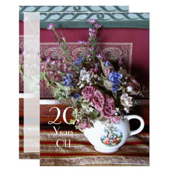 20th Birthday Party Invitation, Vintage Teapot Card