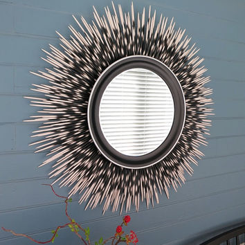 "32 inch ""Porcupine Quill"" Mirror: White Tip with Black Frame and Silver Accent Border"
