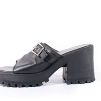 90s Vintage Platform Sandals Chunky Black Vegan Leather Slip On Slides Minimalist Goth Shoes Womens Size US 8.5 UK 6.5 EUR 39