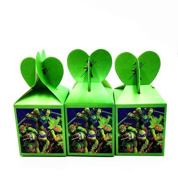 6pcs/lot Turtles candy boxes turtles boxes baby shower candy case Teenage Mutant Ninja Turtles gift boxes
