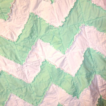 Rag Quilt, Chevron, Reversible, Toddler Bedding, Baby Blanket, Ready to Ship