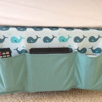 Whales Pattern Bed caddy, Bed organizer, bedside caddy, bedside organizer caddy, Boys bed caddy