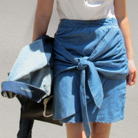 LANCE Knot Denim Skirt