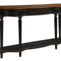 Elegant Black/Brown Three Drawer Console Table