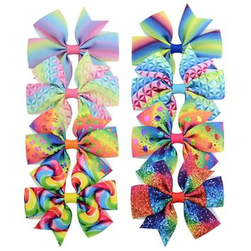 40 pcs/lot, Unicorn print Hair Bow Clip, Girls Rainbow Boutique Bow Hair Clips for Birthday Party Gift