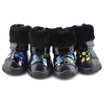 Fashion Online Winter Pet Dogs Puppy Dots Shoes Casual Anti-slip Snow Boots Clothes Apparel - 1945720004