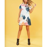 MINKPINK Coral Sea Abstract Tee Dress in Multi